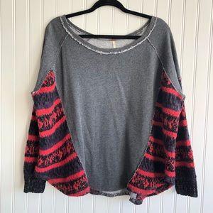 Free People Mixed Media Wool Sweater Sweatshirt S